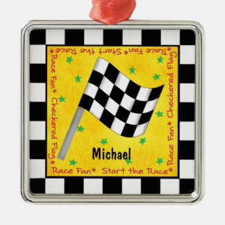 Auto Race Fan Chequered Flag Name Personalised Metal Ornament