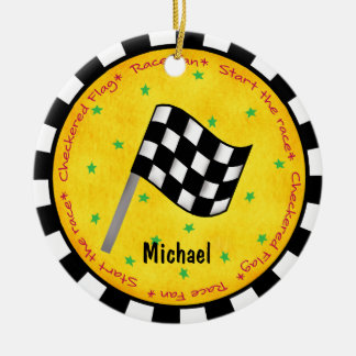 Auto Race Fan Chequered Flag Name Year Customised Round Ceramic Decoration