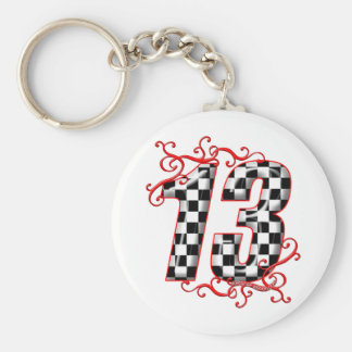 auto racing number 13 key chains