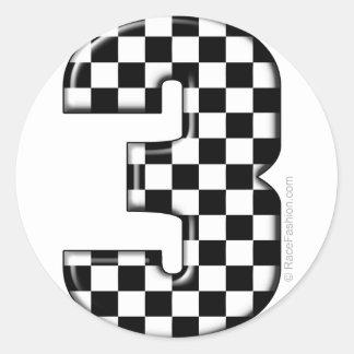 auto racing number 3 classic round sticker
