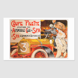 Auto Rally Race ~ Vintage Automobile Car Ad Rectangular Sticker