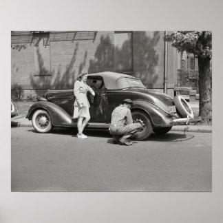 Auto Repair Service, 1942. Vintage Photo Poster