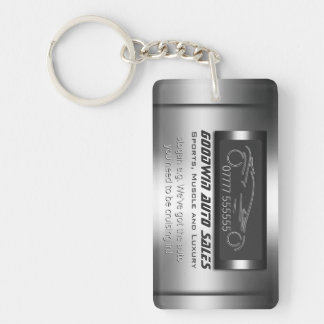 Auto Sales Giveaway - faux metal, silver auto Single-Sided Rectangular Acrylic Key Ring