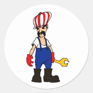 auto service cartoon man car repair mechanic funny round sticker