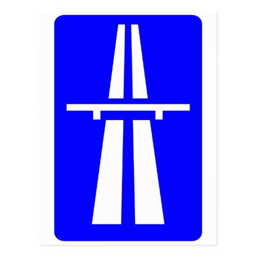 Autobahn Sign Post Card