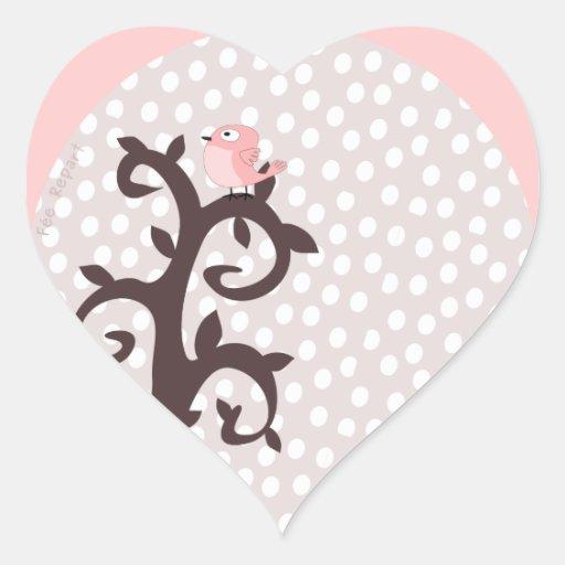 Autocollant coeur oiseau rose sur arbre arabesque zazzle for Autocollant mural arbre