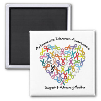 Autoimmune Disease Awareness Heart Square Magnet