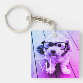 AUTOMATIC Filter of Your Photo & Monogram - Miami Key Ring