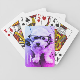AUTOMATIC Filter of Your Photo & Monogram - Miami Playing Cards