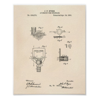 Automatic Fire Sprinkler 1891 Patent - Old Peper Poster