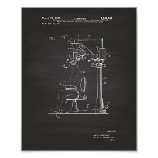 Automatic Hair Cutting 1966 Patent Art Chalkboard Poster