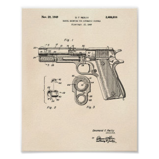 Automatic Pistols 1949 Patent Art Old Peper Poster