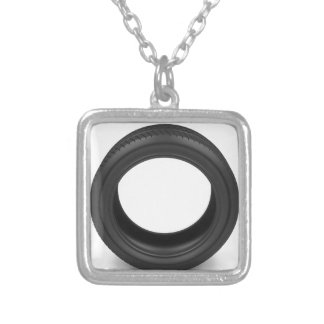 Automobile tire silver plated necklace