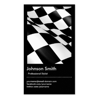 Automotive - Black White Plaid Checkered Flag Pack Of Standard Business Cards
