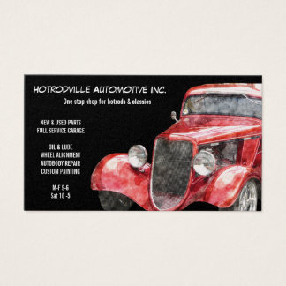 Automotive Parts & Service Red Classic Hotrod Car Business Card
