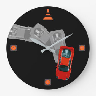 AUTOX-Red Large Clock