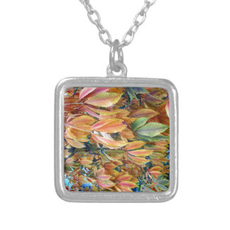 Autum Leafs Square Pendant Necklace