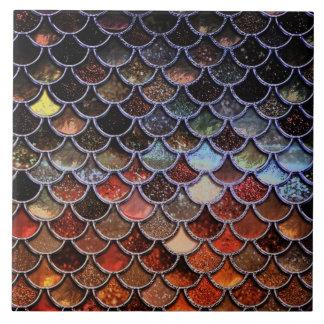 Autum Mermaid Watercolor Scales- Mermaidscales Ceramic Tile