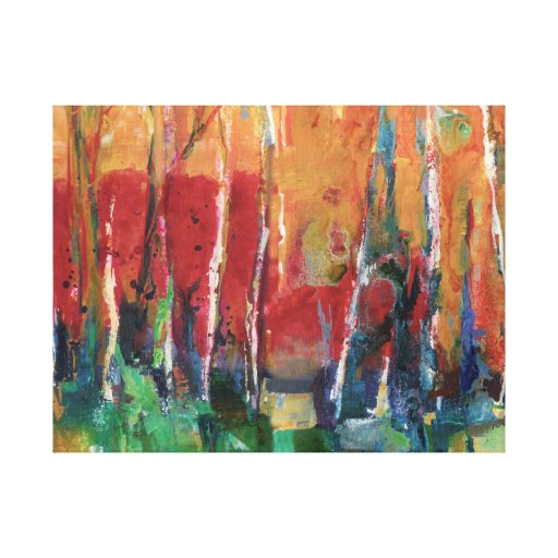 Autumn Abstract Landscape Art Painting Gallery Wrap Canvas