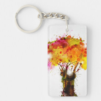Autumn Abstract Tree Forming By Blots Double-Sided Rectangular Acrylic Key Ring