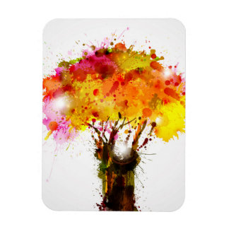 Autumn Abstract Tree Forming By Blots Rectangular Photo Magnet