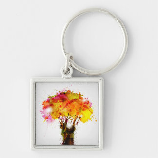 Autumn Abstract Tree Forming By Blots Silver-Colored Square Key Ring