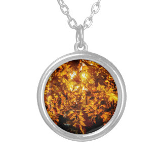 Autumn abstraction silver plated necklace