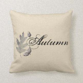 Autumn Acorns & Leaf Farmhouse Throw Pillow
