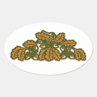 Autumn Acorns Oval Sticker