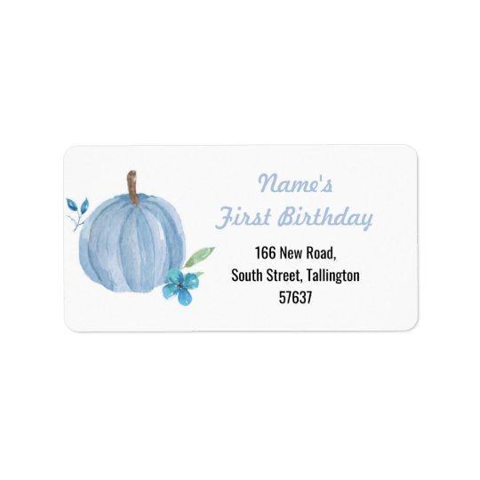 Autumn Address Labels Pumpkin Blue Birthday Boy