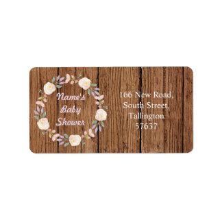 Autumn Address Pink Labels Wood Baby Shower