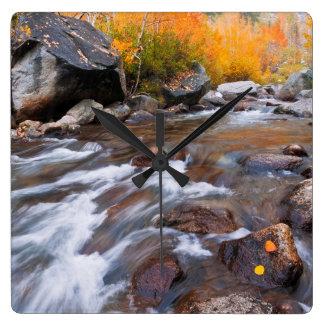 Autumn along Bishop Creek, CA Square Wall Clock