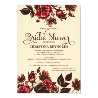 Autumn and Fall Floral Bridal Shower Invite