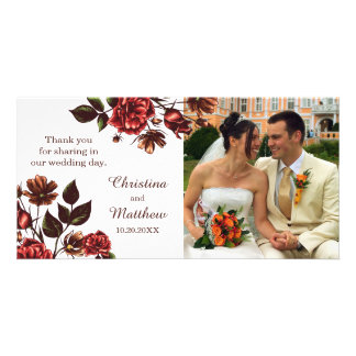 Autumn and Fall Floral Wedding Photo Card