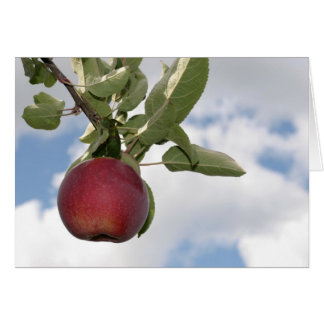 Autumn apple and clouds - blank card
