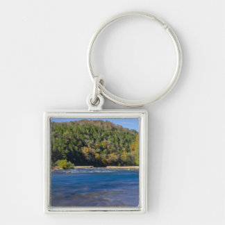 Autumn At North Fork Silver-Colored Square Key Ring