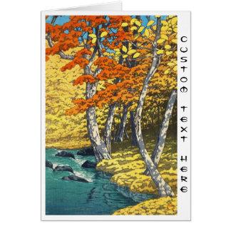 Autumn at Oirase Hasui Kawase scenery shin hanga Card