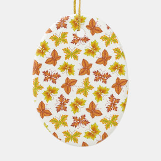 Autumn atmosphere with butterfly-shaped leaves ceramic oval decoration