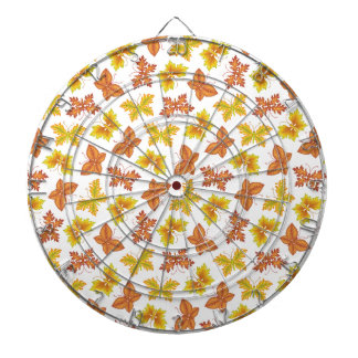 Autumn atmosphere with butterfly-shaped leaves dartboards