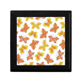 Autumn atmosphere with butterfly-shaped leaves gift box