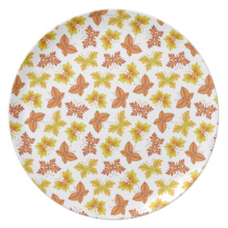Autumn atmosphere with butterfly-shaped leaves plate