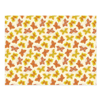 Autumn atmosphere with butterfly-shaped leaves postcard