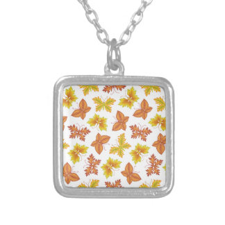 Autumn atmosphere with butterfly-shaped leaves silver plated necklace