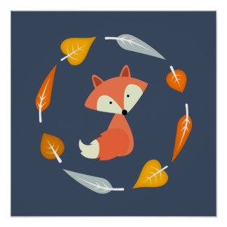 Autumn Baby Fox Poster