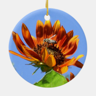 Autumn Beauty Sunflower and Honey Bee in the Round Round Ceramic Decoration
