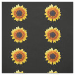 Autumn Beauty Sunflower on Black Combed Cotton Fabric