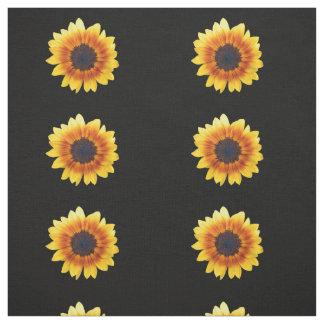 Autumn Beauty Sunflower on Black Combed Cotton Fabric
