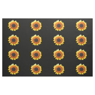 Autumn Beauty Sunflower on Black II Combed Cotton Fabric