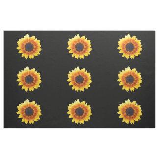 Autumn Beauty Sunflower on Black III Combed Cotton Fabric