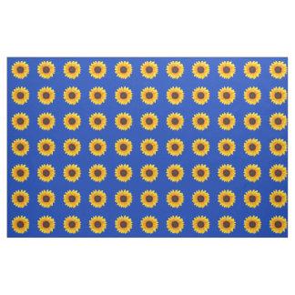 Autumn Beauty Sunflower on Blue I Combed Cotton Fabric